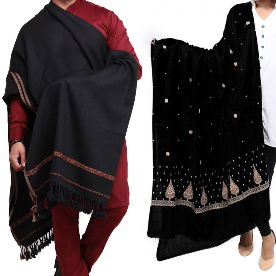 Couple Shawls Black Pan Patti Plain & Pure Acro-Woolen Dhussa Shawls SHL-030-25