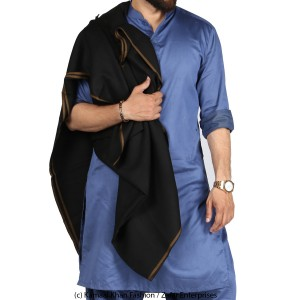 Black Pure Woolen Kashmiri Fushion Dhussa SHL-119-2