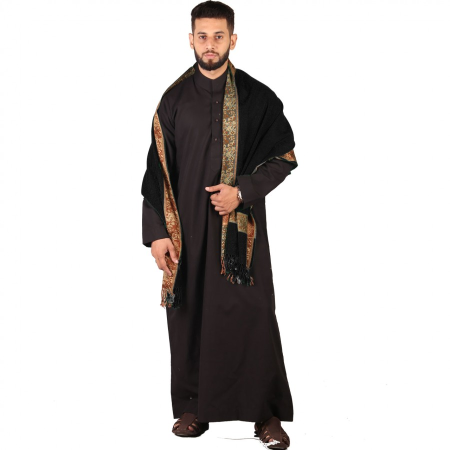 Black 4 Border Karbala Style Mufler Shawl SHL-192-3