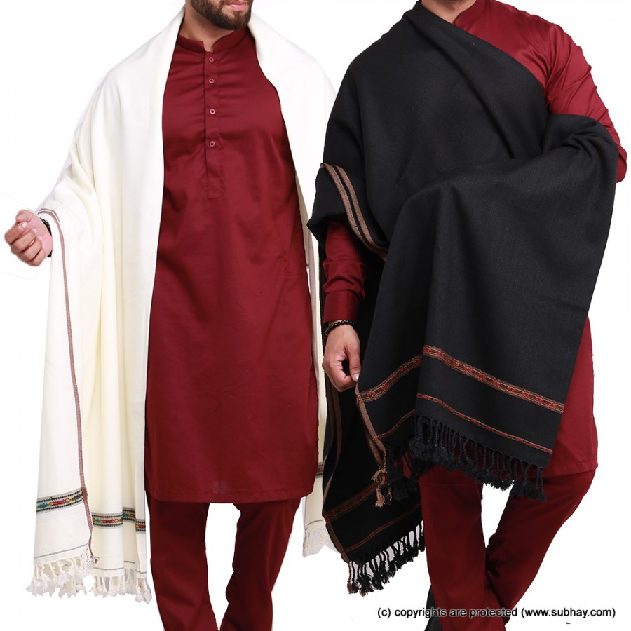 Pack of 2 Black & White Pure Acro-Woolen Dhussa Shawl For Man SHL-030-17