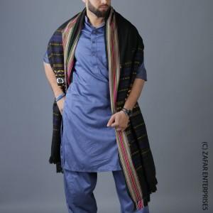 Black & Blue Multi Color Sindhi Tharri Shawl SHL-112-34