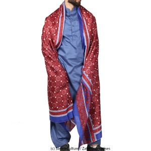 Poly Silk Sindhi Ajrak - Blue SA-03-2