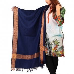 Navy Blue Kashmiri 4 Border Shawl For Her SHL-147-27