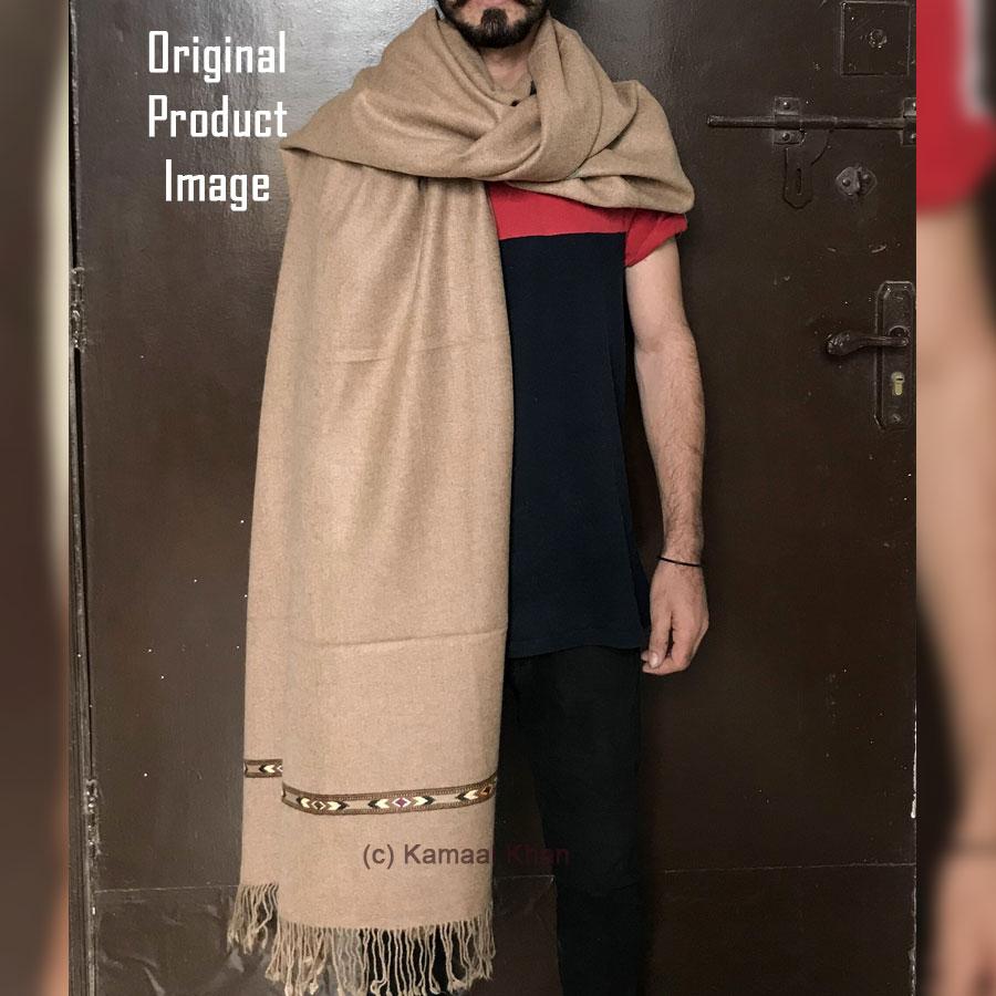 Brown Bannu Pashmina Handmade Sawati Dhussa Shawl For Him SHL-245-7