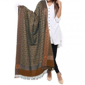Brown Full Embriored Kashmiri 4 Border Shawl For Her SHL-147-14