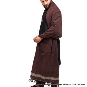 Pure Velvet Deep Brown Dhussa / Khamdar Shawl SHL-150-2 By Khan Culture