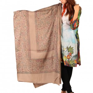 Brownish Grey Full Kashmiri Block Print & Handwork 4 Border Jaal Shawl SHL-210-7
