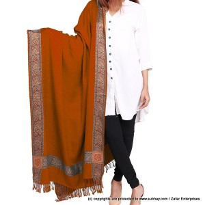 Acro Woolen Copper Color Kashmiri 4 Border Shawl For Her SHL-147-7