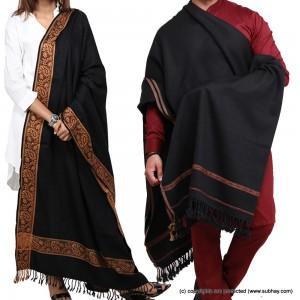 Couple Shawls Black Kashmiri 4 Border Pure Acro-Woolen Dhussa Shawls SHL-030-18