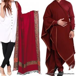 Couple Shawls Redish Maroon Kashmiri 4 Border & Pure Acro-Woolen Dhussa Shawls SHL-030-19
