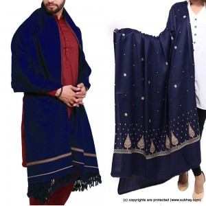 Couple Shawls Blue Pan Patti Plain & Pure Acro-Woolen Dhussa Shawls SHL-030-21