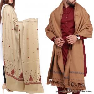 Couple Shawls Badami Pan Patti Plain & Pure Acro-Woolen Dhussa Shawls SHL-030-20