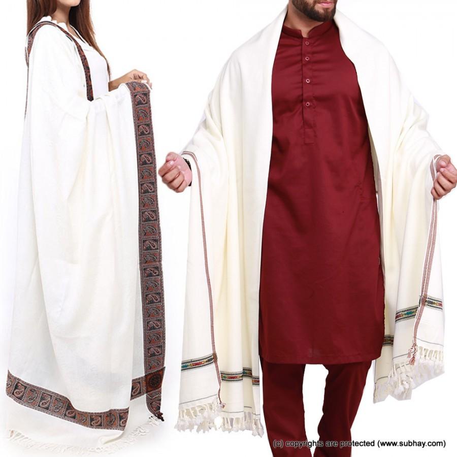 Couple Shawls White Kashmiri 4 Border & Pure Acro-Woolen Dhussa Shawls SHL-030-22