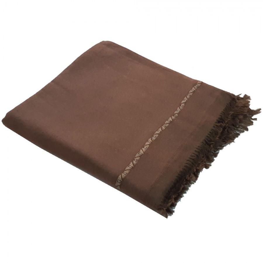 Dark Brown Color Pure Woolen Light Weight Pashmina Dhussa Shawl For Him SHL-171-5