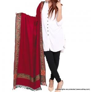 Acro Woolen Redish Maroon Color Kashmiri 4 Border Shawl For Her SHL-147-5