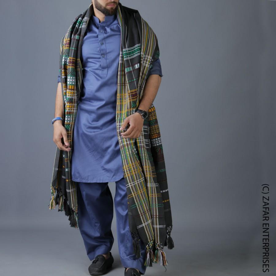 Navy Blue Handmade Sindhi Tharri / Khatri  / Wadera Shawl SHL-110-6