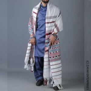 White Handmade Sindhi Tharri / Khatri  / Wadera Shawl SHL-110-3
