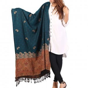 Ferozi Color Kashmiri Jaal Kani Palla Shawl For Her SHL-213-3