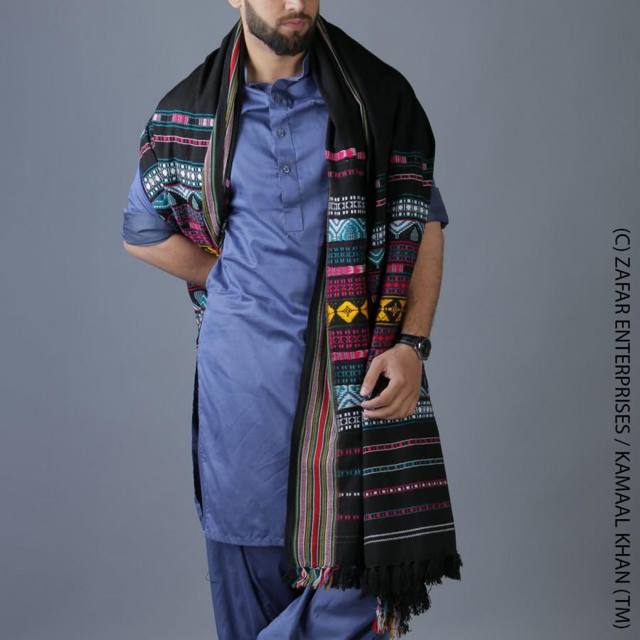 Black Multi Color Sindhi Tharri Shawl SHL-112-35