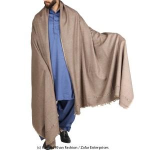 Grey Pure Woolen Handmade Peshawari & Kashmiri Fusion Dhussa Shawl SHL-142