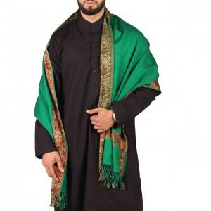 Green 4 Border Karbala Style Mufler Shawl SHL-192-1