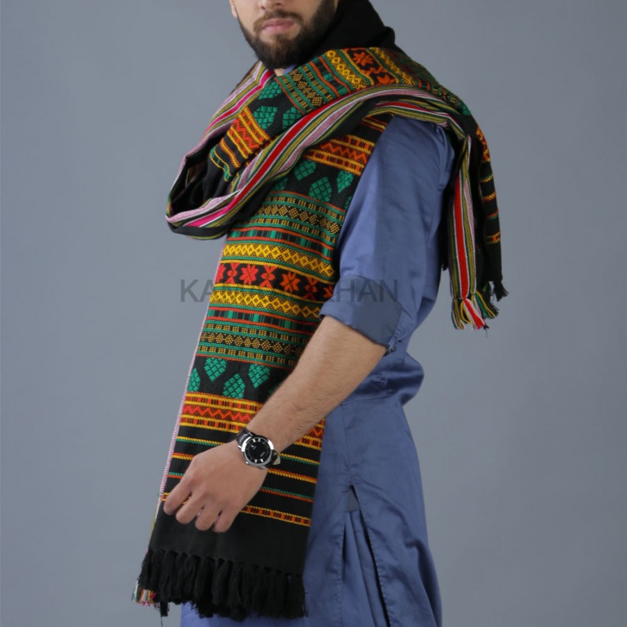 Green and Orange Multi Color Sindhi Tharri Shawl SHL-112-36