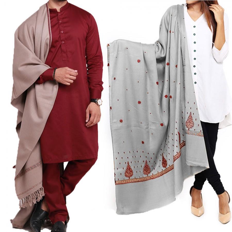 Couple Shawls Gray Pan Patti Plain & Pure Acro-Woolen Dhussa Shawls SHL-030-24