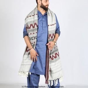 Grey Handmade Sindhi Tharri / Khatri  / Wadera Shawl SHL-112-12
