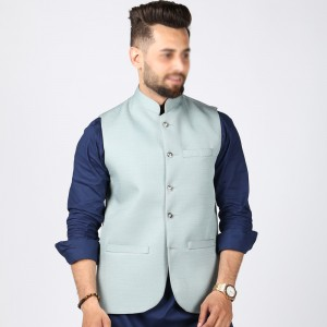 Sky Blue Jute Suiting Waist Coat For Him KK-56