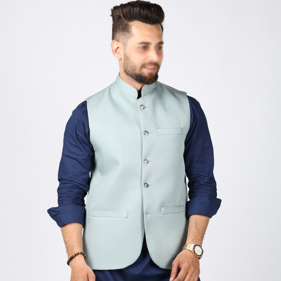Sky Blue Jute Suiting Waist Coat For Him KK-56