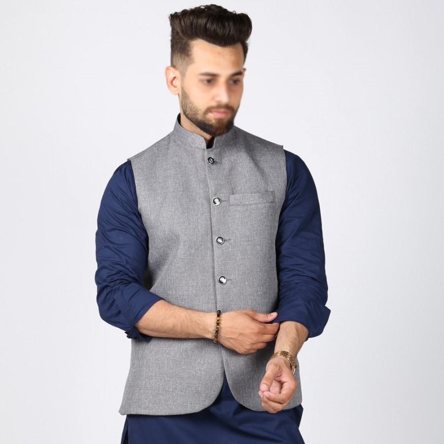 Light Grey Jute Suiting Waist Coat For Him KK-52