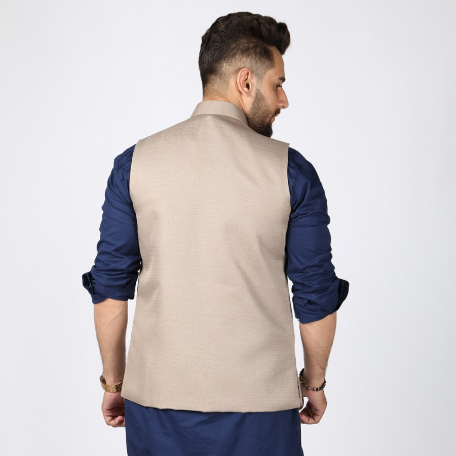 Khaki Jute Suiting Waist Coat For Him KK-55