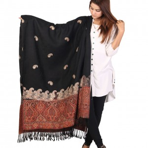 Black Color Kashmiri Jaal Kani Palla Shawl For Her SHL-213-2