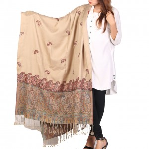 Beige Color Kashmiri Jaal Kani Palla Shawl For Her SHL-213-5