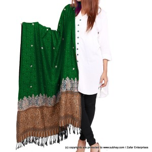 Acro Woolen Green Color Kashmiri (Kani Palla) Embriored Shawl For Her SHL-151-7
