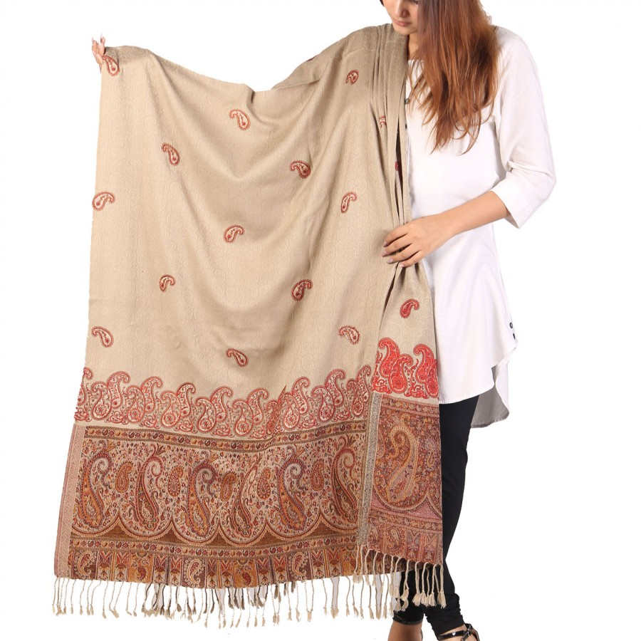 Pista Color Kashmiri Jaal Kani Palla Shawl For Her SHL-213-4