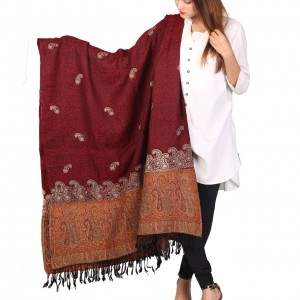 Maroon Color Kashmiri Jaal Kani Palla Shawl For Her SHL-213-1