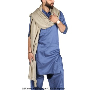 Mix Woolen Light Grey Plain Kashmiri Shawl For Him SHL-066-8