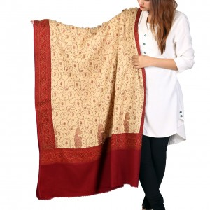 Beige Color Kashmiri Style Jaal Jacquard Shawl For Her SHL-212-2