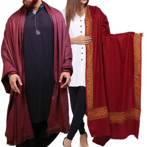 Couple Shawls Maroon 4 Border & Mix Woolen Lohi Shawl Shawls SHL-066-11