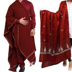 Couple Shawls Maroon Pan Patti Plain & Pure Acro-Woolen Dhussa Shawls SHL-030-26