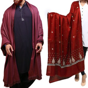 Couple Shawls Maroon Pan Patti Plain & Mix Woolen Lohi Shawl Shawls SHL-066-10