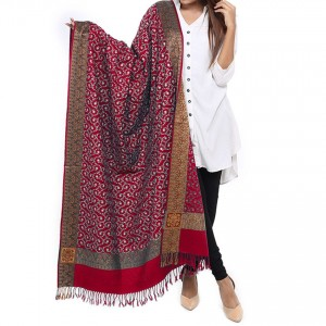 Reddish Maroon Full Embroidered Kashmiri 4 Border Shawl For Her SHL-147-14