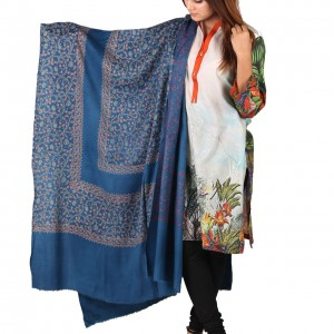 Blue Full Kashmiri Block Print & Handwork 4 Border Jaal Shawl SHL-210-2