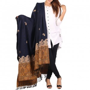 Navy Blue Color Kashmiri Jaal Kani Palla Shawl For Her SHL-213-7