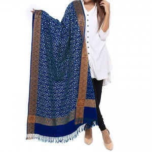 Navy Blue Full Embriored Kashmiri 4 Border Shawl For Her SHL-147-13