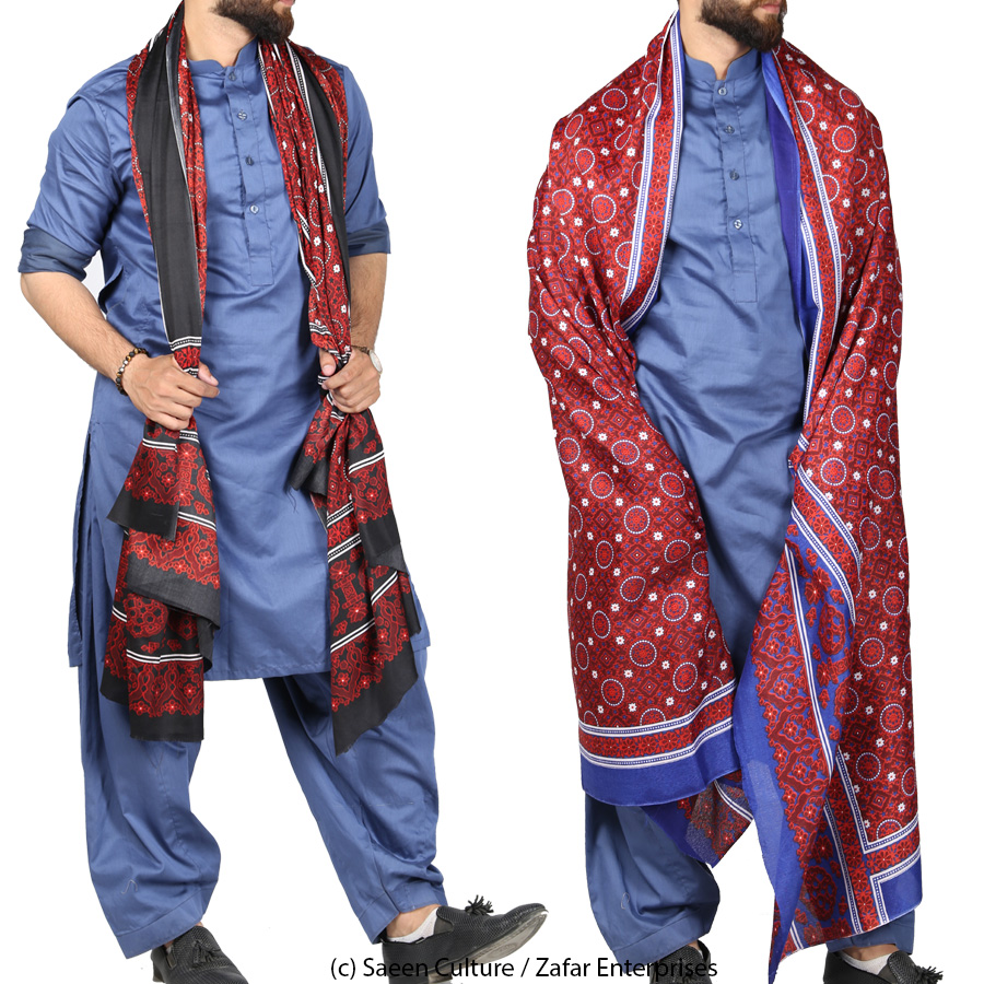 Pack of 2 Silk Based Blue/Red and Black/Red Ajraks - Ajrak Deal