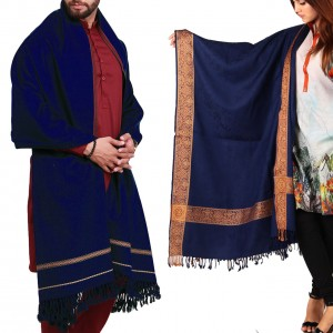 Couple Shawls Navy Blue Kashmiri 4 Border & Dhussa Shawls SHL-030-27
