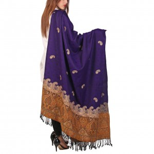 Purple Color Kashmiri Jaal Kani Palla Shawl For Her SHL-213-6