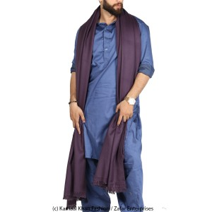 Mix Woolen Purple (Jamuni) Plain Kashmiri Lohi Shawl For Him SHL-066-6